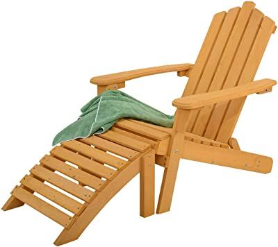 Prime Amazon Com Giantex Wood Adirondack Chair W Ottoman Outdoor Squirreltailoven Fun Painted Chair Ideas Images Squirreltailovenorg