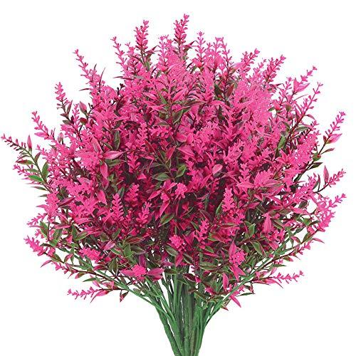 8 Bundles Artificial Lavender Flowers Outdoor Fake Flowers for Decoration UV Resistant No Fade Faux Plastic Plants Garden Porch Window Box Décor (Pink)