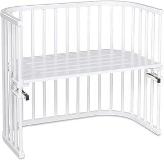 babybay Maxi extra großes Beistellbett aus massivem Buchenholz I Kinderbett Höhe stufenlos verstellbar & umweltfreundlich I mitwachsendes Babybett, weiß lackiert