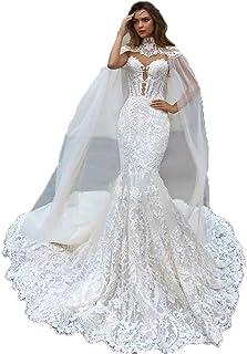 60f14389ce0e Splendida Mermaid Abiti da Sposa in Pizzo con Cape Sheer Plunging Neck  Bohemian Abito da Sposa