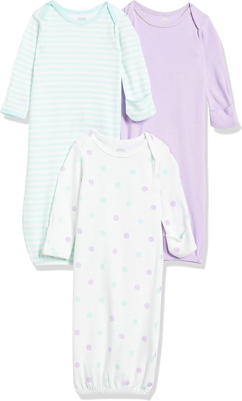 Amazon Essentials Baby 3-Pack Cotton Sleeper Gown
