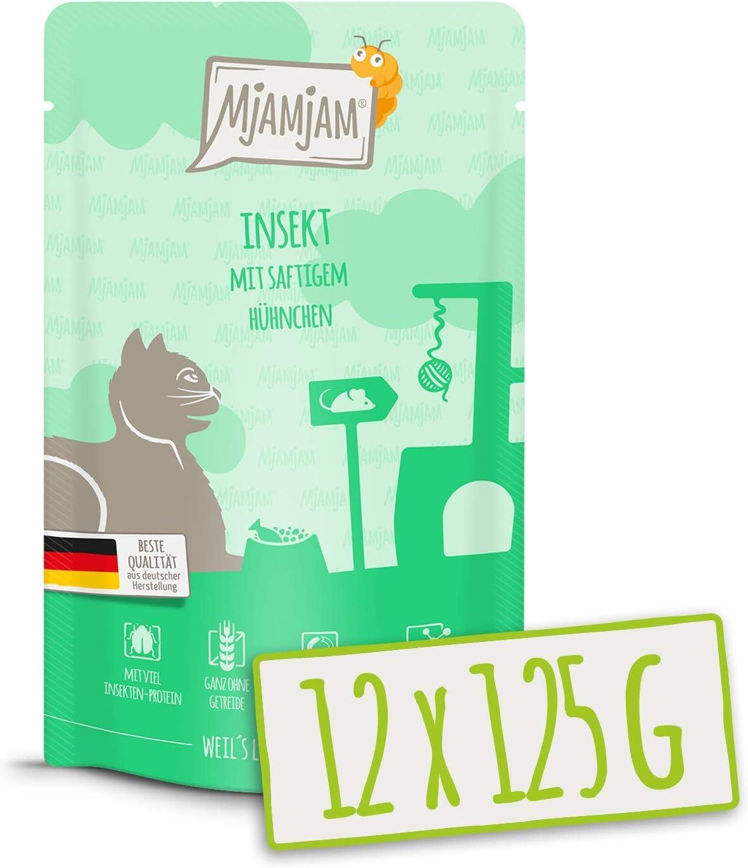 MjAMjAM - Pienso acuoso para Gatos - Insectos con Pollo jugoso - Sin Cereales - Pouch 12 x 125 g