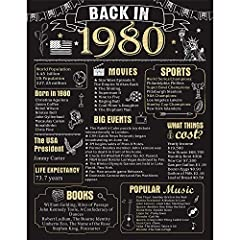 【40th Party Decoration】: Take a look back in 1980,This 40 Years Ago poster makes a great conversation starter! Featuring historical facts from 1980, attract more families or guests to join in the fun with you, great gift or decoration for 40th birthd...