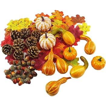 FunPa 400PCS Feuilles d/érable de Halloween d/écoratives Faux Feuille avec 12 Citrouille dhalloween
