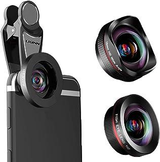 AEDWQ 4K HD Phone Camera Lens, 4 in 1 Lens Set, 2X Telephoto Lens, 0.6X Ultra Wide-Angle Lens, 15x Macro Lens, 198 ° Fishe...