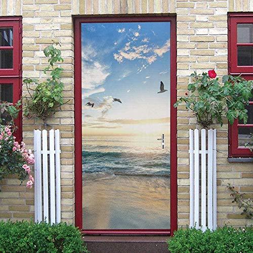 LuSeven Etiqueta engomada de la puerta 3D para el baño de la cocina del dormitorio Cielo azul nubes blancas pájaros mar paisajes naturales. 90x215cm Pegatina Vinilo floral para puertas, cocinas, baños