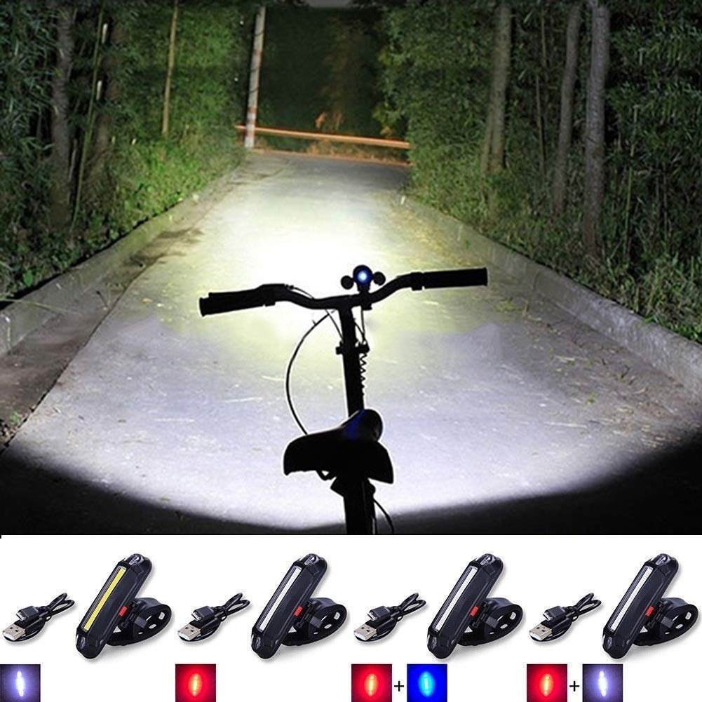 COB LED Cycling Bicycle Bike Front Rear Tail Light USB Rechargeable 6Mode Lamp 1