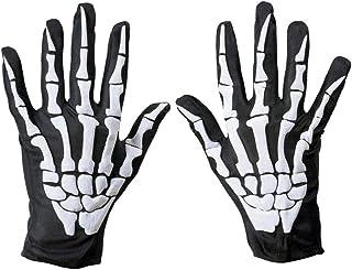 Amosfun Halloween Gloves Bone Gloves for Halloween Party (white)