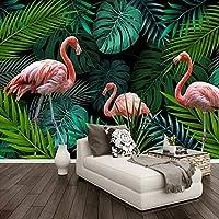 カスタム写真手描きの熱帯雨林バナナの葉赤い鳥緑の壁画の壁紙家の装飾3D壁画リビングルーム, 350cm×245cm