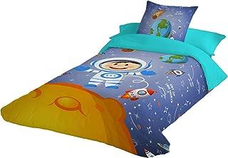 Montse Interiors Funda nórdica Infantil Espacio con Astronauta y Planetas en Tacto pétalo (Space, para Cama de 90x190/200 (Nórdico de 150))