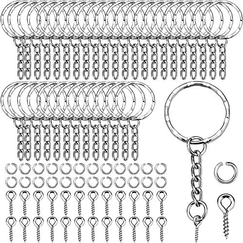 Key Ring Key Chain Rings Split Keyrings with Link Chain, Open Jump Rings and Screw Eye Pins for Crafts, 25 mm Diameter (100 Sets)
