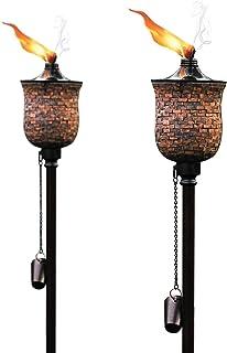 Deco Home Garden Torch 4 in 1, Mosaic Tulip Jar Garden Torch 64-inch, Deck Torch, Table Torch or...