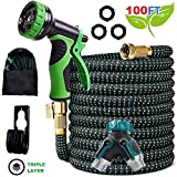 AMVEE Expandable Garden Hose 100 Feet Upgraded Strength 3750D Expanding Lightweight Water Hoses Triple Layers Latex Core 9 Pattern Spray Nozzle Extra Solid 3/4 Brass Connectors 2 Way Splitter (100)