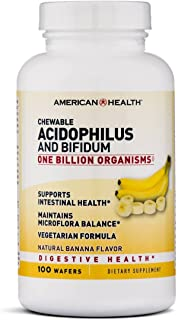 American Health Chewable Probiotic Acidophilus and Bifidum, Natural Banana Flavor Wafers - Supports Digestive Health, Intestinal Balance & Immune Function - Vegetarian, 100 Total Servings