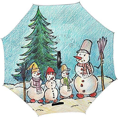 Paraplu omgedraaid boom motief sneeuwman meervoudig #sa445