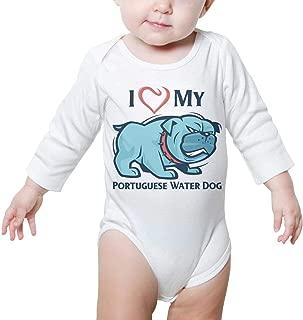 I Love My Portuguese Water Dog Baby Onesie White Romper Long Sleeve Sleepwear Cotton Unique