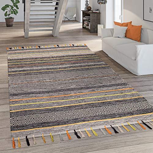 Paco Home Teppich Wohnzimmer Kurzflor Streifen Fransen Baumwolle Webteppich Grau Orange, Grösse:120x170 cm