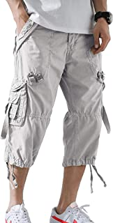 Men's Cargo Shorts 3/4 Relaxed Fit Below Knee Capri Cargo Pants Cotton