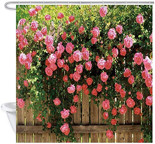 lovedomi Rose Garden Flowers On Wooden Fence with Rose...