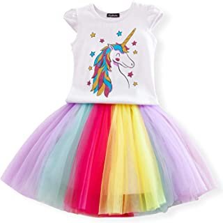 f39f57ef1abb7 NNJXD Robe de Loisir pour Petites Filles Licorne T-Shirt imprimé + Jupe Arc-