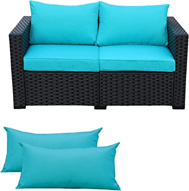 Patio Wicker Sofa Outdoor Garden Love Seat Chair Couch Furniture Black Rattan with Turquoise Cushion
