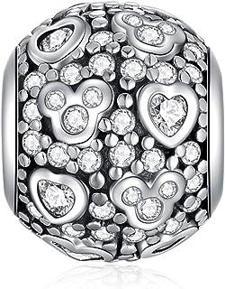 PYTALI Disney Charms Love Heart Dangle Charms fits Pandora Charms Bracelets,925 Stealing Sliver Pandora Beads Gifts for Wo...