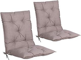 Detex Set de 2 Cojines de sillas con Respaldo Crema Almohadillas Rellenado para sillones para jardín Interior Exterior