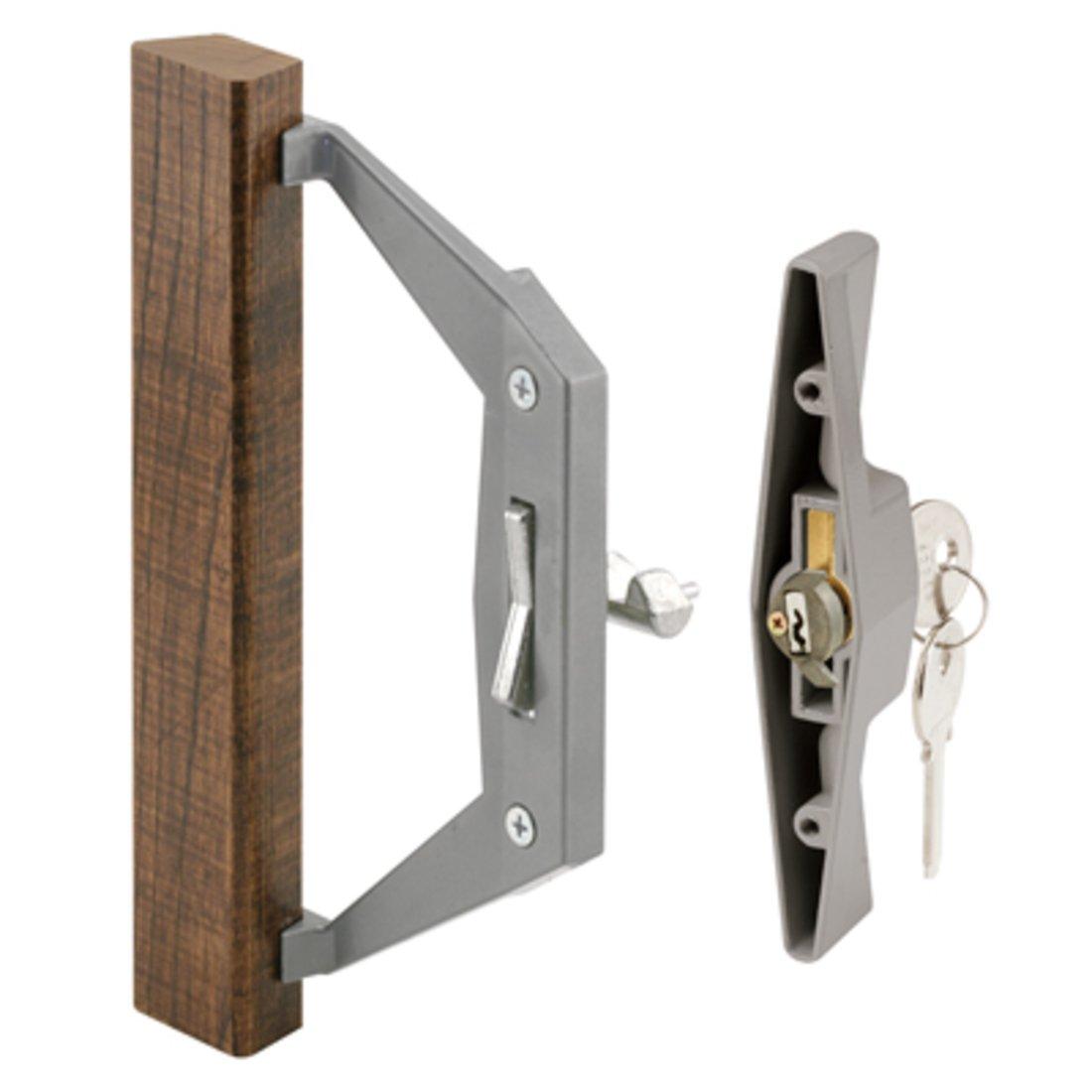 Madera/aluminio interior llave cerradura puerta de cristal corredera mango Set con 3 – 1/2