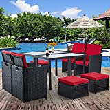 10 Pieces Patio Dining Sets, Outdoor Space Saving Dining Table Set, Wicker Rattan Furniture with Ottoman & Table, for Garden, Patio, Balcony, Beach, Backyard(Red