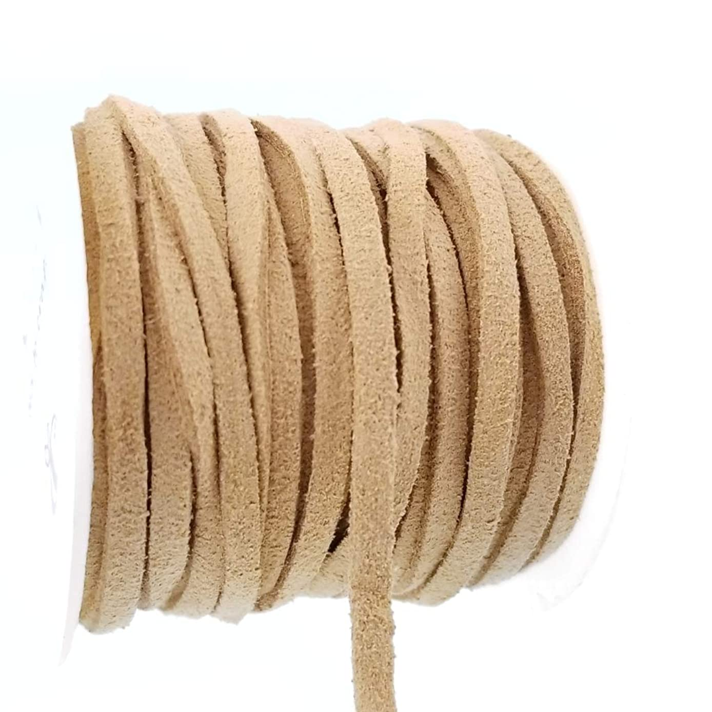 Tan Light Brown Flat Faux Suede Fabric Cord Vegan Leather Spool for Crafts, Jewelry Making (3mm)