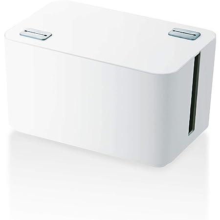ELECOM ケーブル収納ボックス 4個口電源タップ収納 ホワイト EKC-BOX002WH