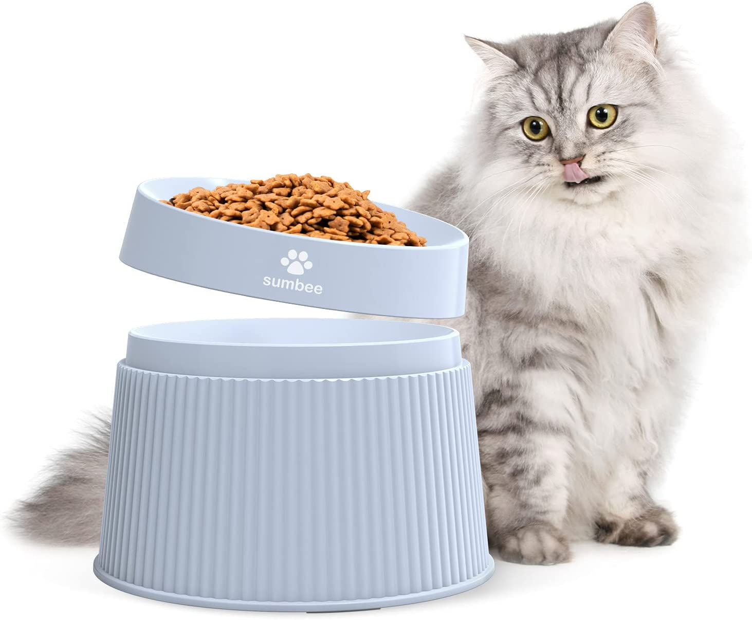 Sumbee Elevated Cat Food Bowls, Raised Small Dog Bowl, Cat Dishes for Food and Water, 17° Tilted Widen Feeding Bowls for Cute Pet, Puppy and Kitty