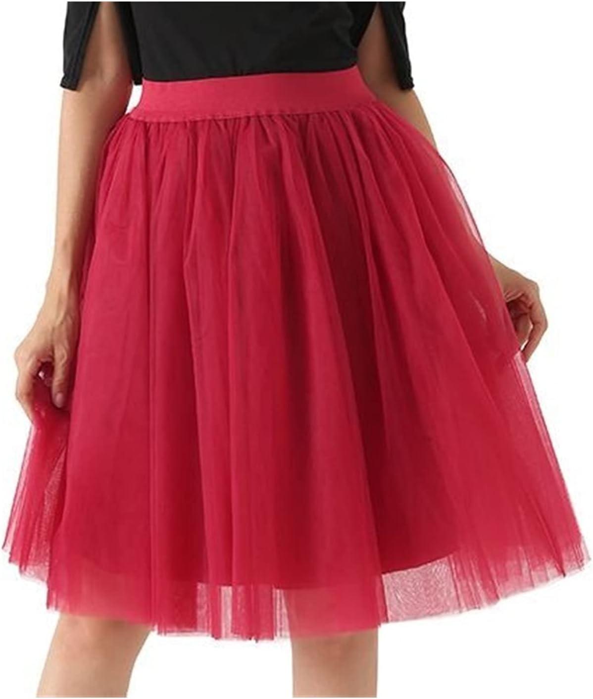 XLDQJPN Women's Tulle Skirt Tutu Wedding Bride Bridesmaid Skirt Skirt Petticoat Lolita Saiya (Color : Red Wine, Size : One Size)