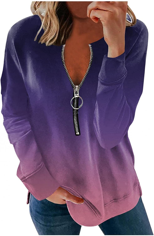 Jaqqra Hoodies for Women, Womens Casual Zip Up Gradient Printing Sweatshirt Jacket Long Sleeve Pullover Tops Blouse Coat