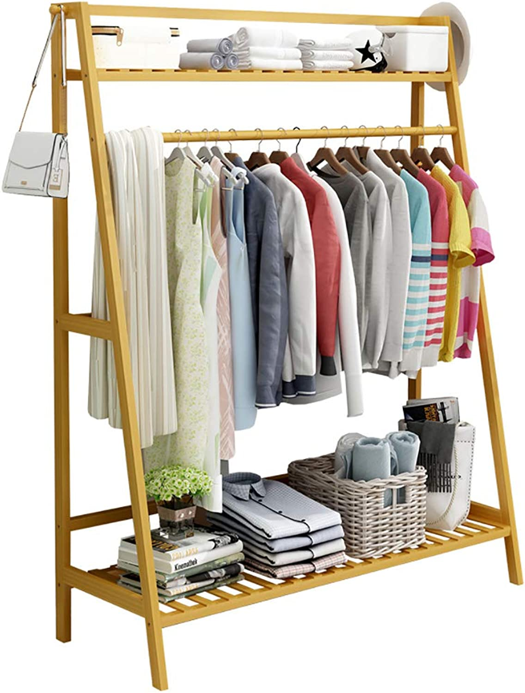 Standing Coat Racks Hanger Bamboo Hanger Jacket Clothes Hanger 2 Layers 2 Hooks for shoes Racks and hat Racks (60 cm, 80 cm, 100 cm) x 40 x 140 cm Optional (Size   50  40  140cm)