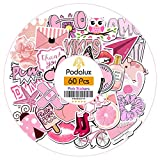 Podalux Water Bottle Stickers Pack of 60, Cute Pink Stuff Sticker for Girl Teens Laptop