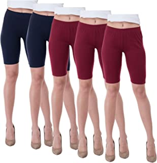 IndiWeaves Women's Cotton Cycling Shorts (Csw01-2csw02-3-iw_Navy Blue/Maroon_40) Pack of 5