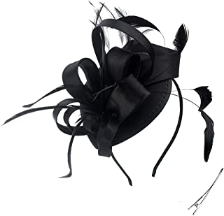 Fascinator Hats Feather Satin Tea Party Hat Wedding Church Bridal Headwear for Women Girls