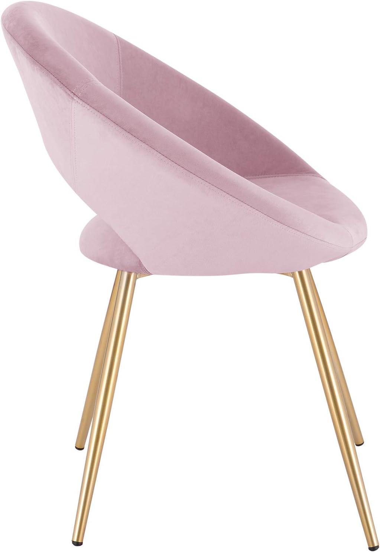 WOLTU 1 X Chaise de Salle à Manger Chaise de Loisirs en Velours et métal,Rose BH230rs-1 Rose