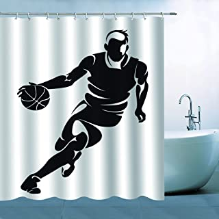 BCNEW Sport Basketball Shower Curtain Decor Hoopman Playing Basketball NBA Bathroom Curtain Polyester Fabric Machine Washable with Hooks 70x70 Inches