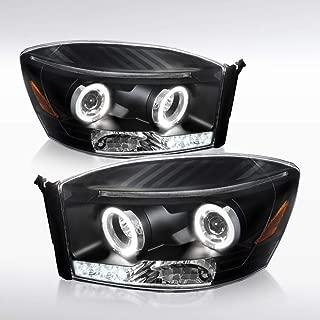 Autozensation For Dodge Ram Truck Black LED Halo Projector Headlights Pair