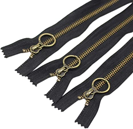 Metal Zippers YKK #5 Brass Auto Lock Zipper Medium Weight Closed Bottom Available in 7 Inch or 9 Inch Made in USA 7 Inch 10pcs, 10 Colors Mixed Zipperstop