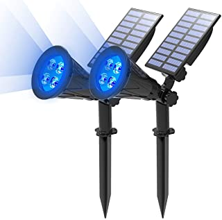 T-Sun Solar Spotlights LED Outdoor Wall Lights Auto-on at Night/Auto-Off by Day 180 Angle Adjustable Solar Lights for Tree...