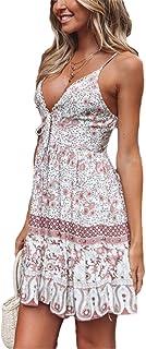 Vestido de playa para mujer, sexy, bohemio, espalda abierta, halter profundo, encaje en V, falda floral, manga larga, ropa...