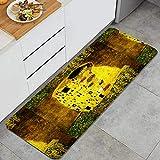 Anti Fatiga Cocina Alfombra del Piso,klimt inspiró la pintura batik de arte abstracto en los terrenos de Gustav Klimt,Antideslizante Acolchado Puerta Habitación Bañera Alfombra Almohadilla,120 x 45cm