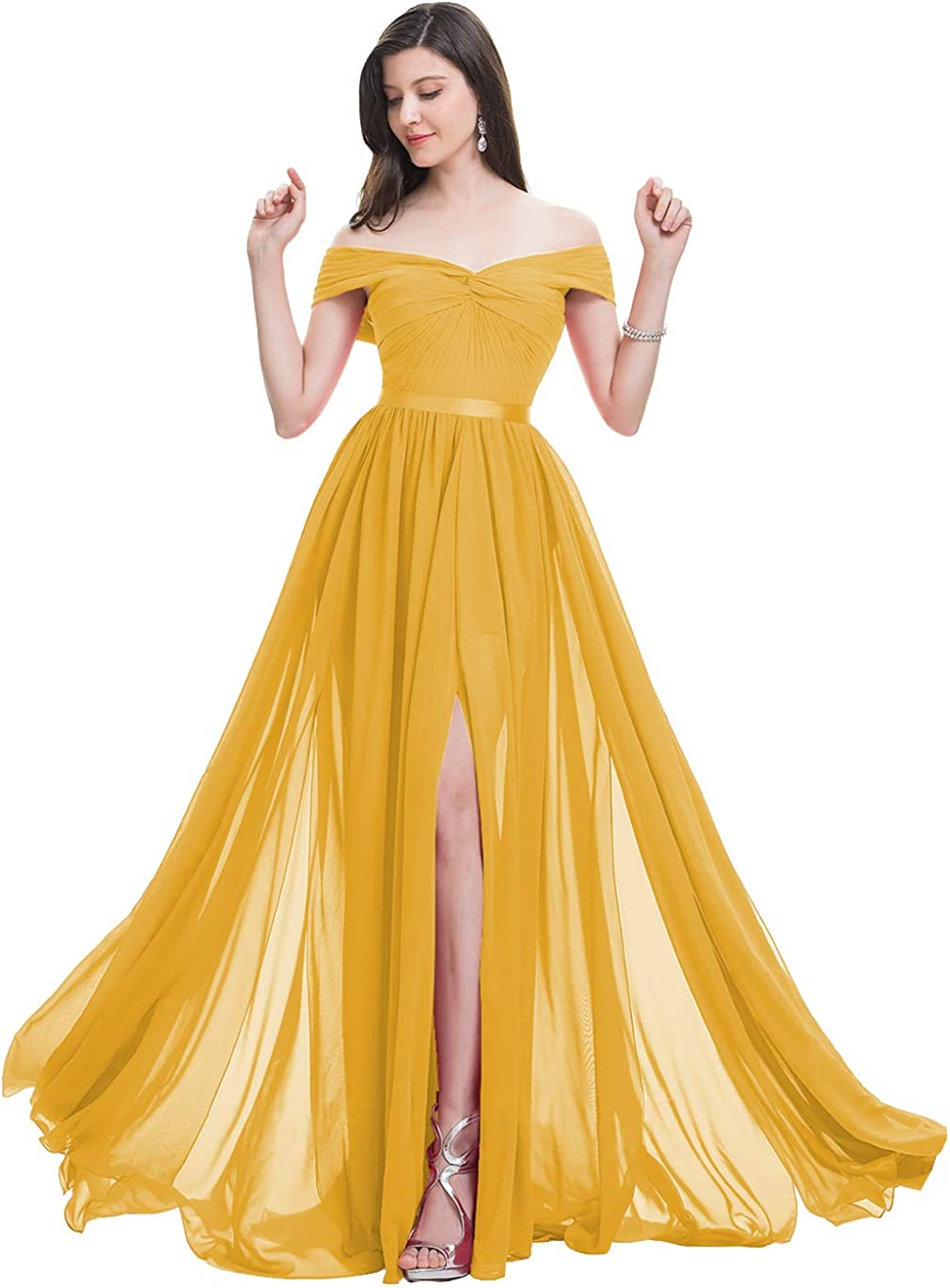 ONEDress Women's Off Shoulder Bridesmaid Dresses with Slit A Line Chiffon Formal Prom Maxi Dress