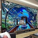 Mundo submarino Acuario Fondo 3D Pintura de pared Papel tapiz mural grande personalizado Pared Pintado Papel tapiz 3D Decoración dormitorio Fotomural sala sofá pared mural-350cm×256cm