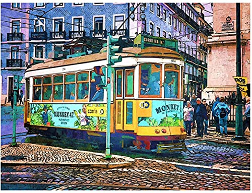 Imprimir En Lienzo Póster de decoración del hogar con imagen de pared de graffiti con impresión artística de tranvía de autobús de la calle de Lisboa acuarela-23.6'x35.4' (60x90cm) Sin Marco