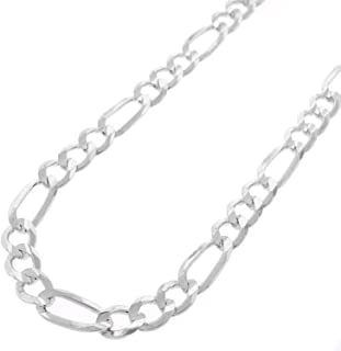 925 Sterling Silver 5MM 5.5MM Diamond Cut Figaro Link Chain Necklace - Silver Figaro Link Necklace, Pave Figaro Chain, 925 Figaro Necklace