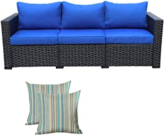 3-Seat Patio PE Wicker Sofa - Outdoor Rattan Couch Furniture w/Steel Frame and Blue Cushion